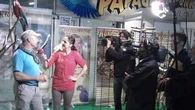 Livesendung vom Papageienpark Messetand